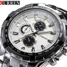Relojes de Acero de lujo para hombre, cronógrafos de pulsera, de cuarzo, informal, deportivo, resistente al agua, masculino