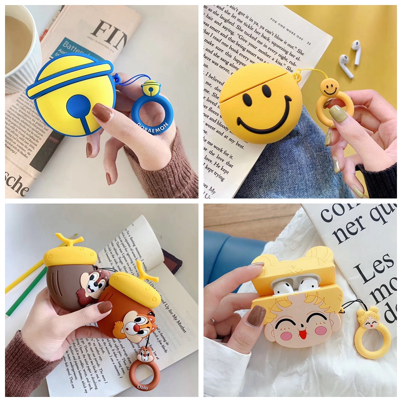 For AirPods 1/2 Case Cute Cartoon Squirrel Earphone Cases For Apple Airpods 2 Kawaii Soft Protect Cover With Finger Ring Strap