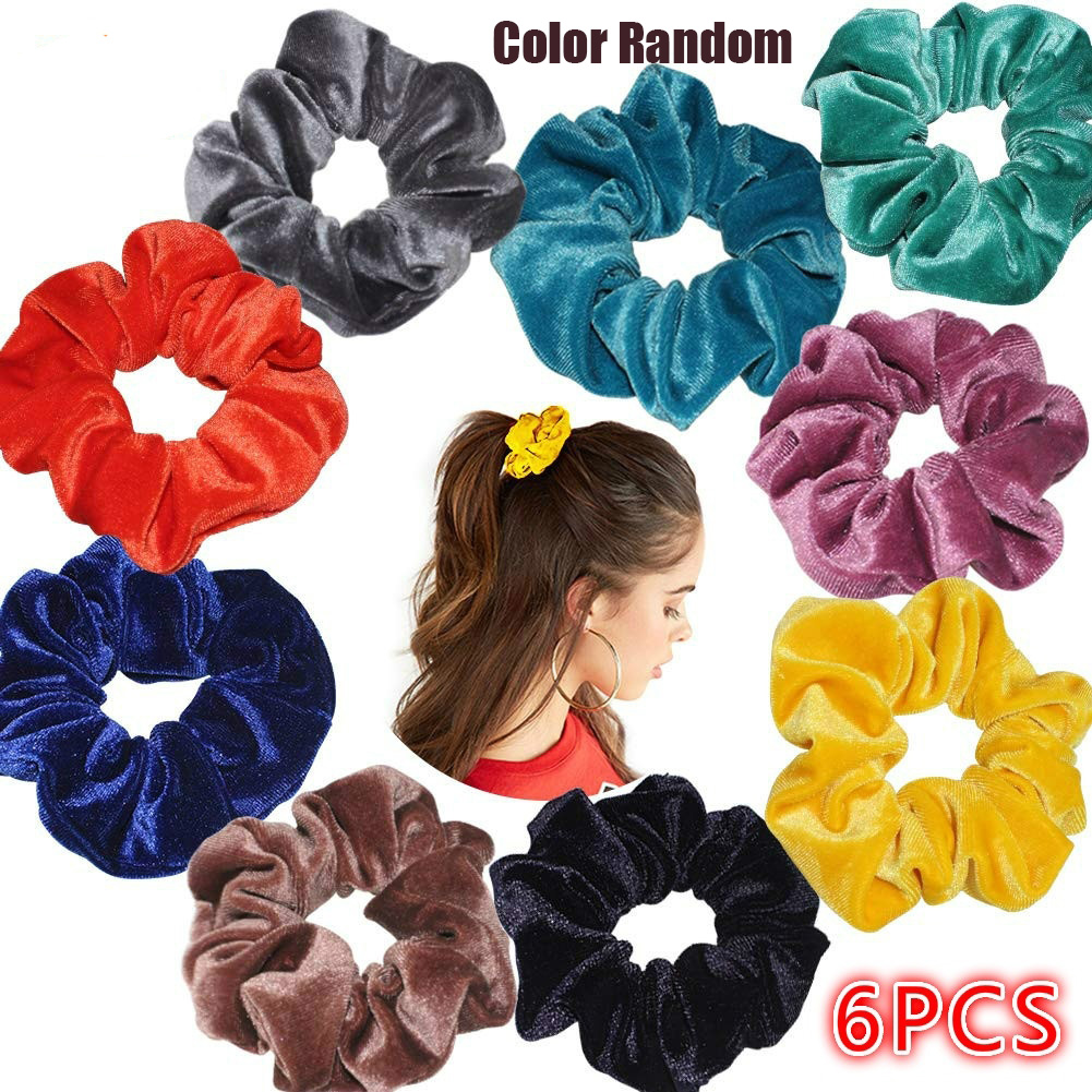 6pcs Velvet Band Scrunchie Elastic Hair Ties Headwear Rope Adult Hair Rope Hair Accessories Band Simple Hair Ties