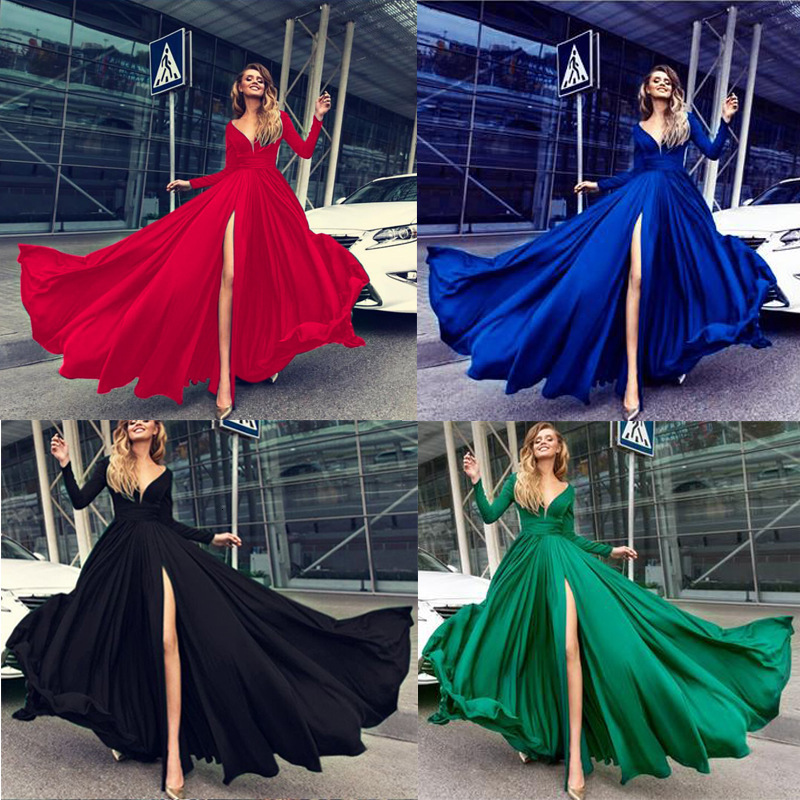 Sexy Women Wrap Convertible Solid Maxi Club Red Dress Bandage Long Sleeve Dress Party Bridesmaids Infinity Robe Longue Femme