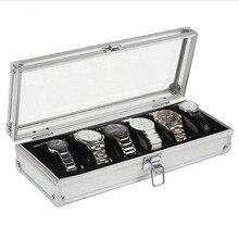 NEW 6 Grid Insert Slots Jewelry Watches Display Storage Box Case Aluminium Watch