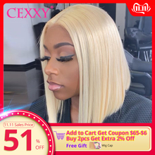 CEXXY Short Bob Wigs Blonde Human-Hair Transparent Lace Lace-Front Black-Women Brazilian-613