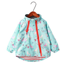 Unicorn Pattern Girls Casual Jackets hooded Outerwear For Baby kids Zipper Windbreaker Fashion Thick Warm Coat Children Clothing(China)