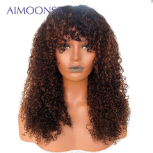 Wig With Bang 13x6 Deep Part Honey Blone Lace Front Human Hair Wigs For Black Women 1b/30 Kinky Curly Human Wig With Bang Remy
