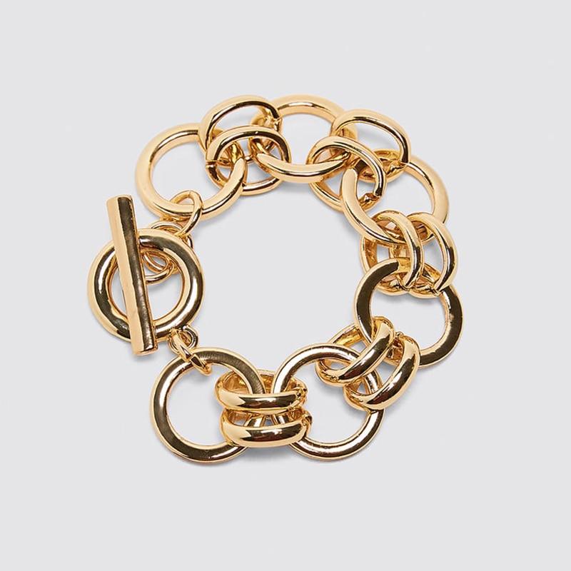 Dvacaman ZA, золотое ожерелье на цепочке, Чокеры для женщин, металлическое круглое звено, массивное ожерелье, s макси панк, модные вечерние ювелирные изделия - Окраска металла: 8