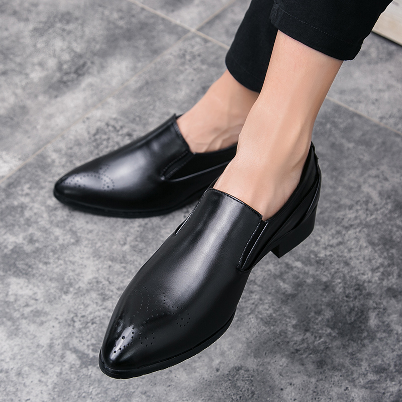 Leather Fashion Men Business Dress Shoes Slip On Loafers Pointy Black Shoes Flats Breathable Formal Wedding Party Shoes Men J3