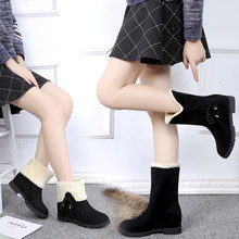 2019 new cotton warm snow boots retro ladies shallow Round Toe australian boots Snow Boots middle calf sets foot Botas Mujer(China)