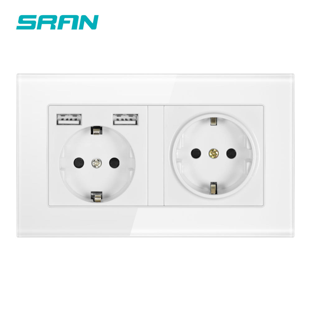 SRAN Wall 16A EU Standard Multi Way Power Socket Plug Grounded Electrical Socket with usb outlet strip 146*86 glass family hotel(China)