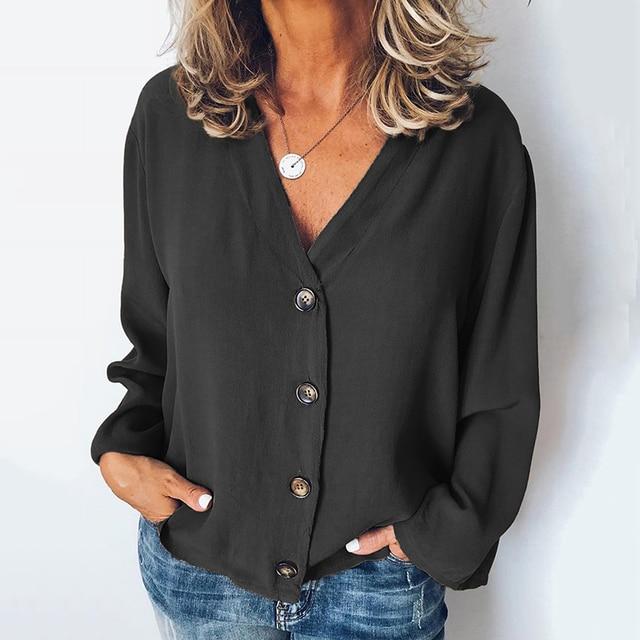 MISSJOY Women Shirt 2020 Spring New Cardigan V-Neck Button Plus Size Ladies Casual Long Sleeves Elegant Office Blouse Tops Black 5