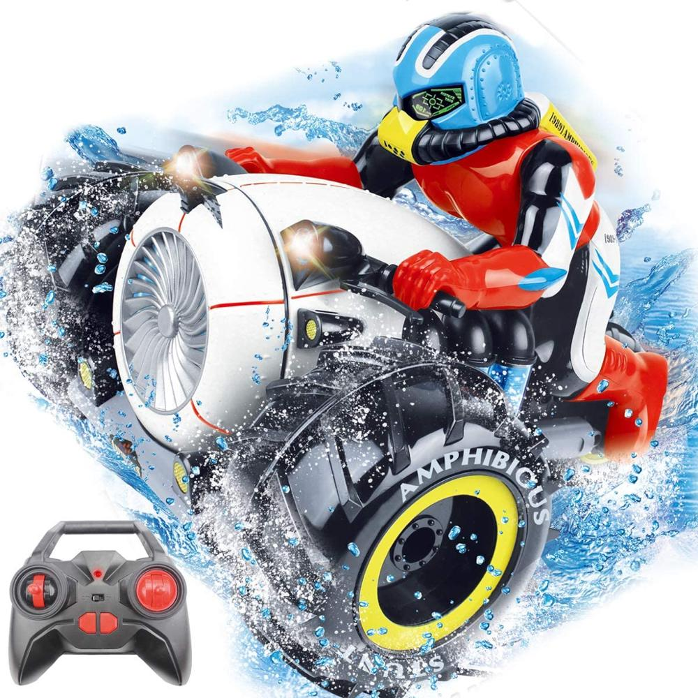 RC Car High Speed Spinning Stunt Car 2.4G Remote Control Amphibious Motorcycle Drives on Land and Water Vehicle Toys for Kids