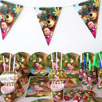 158Pcs/218Pcs Masha and bear Birthday Party Decorations Kids Party Supplies Birthday Disposable Tableware Sets Kids Party Favors