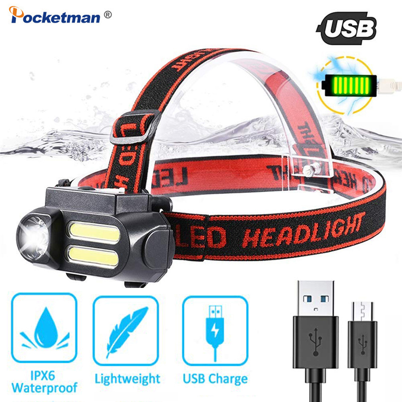 4000LM Portable Mini LED Headlamp COB Work Light 4 Light Modes Waterproof Headlight Use 18650 Battery For Night Lighting Camp