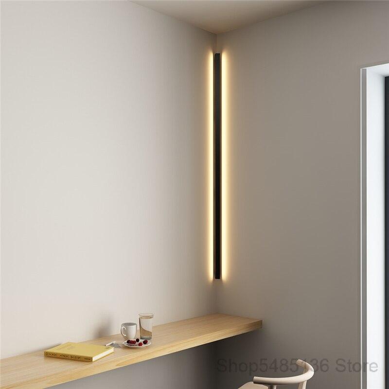 Canto moderno e minimalista conduziu a lâmpada de parede interior simples linha luz luminárias arandelas parede da escada quarto cabeceira iluminação para casa decoração - 2