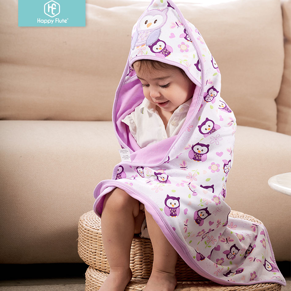 Happy Flute 78*78cm 1 Pcs Baby Kids Hooded Bath Towel / Cartoon Baby Bathrobe / Bath Essential/ Baby Blanket