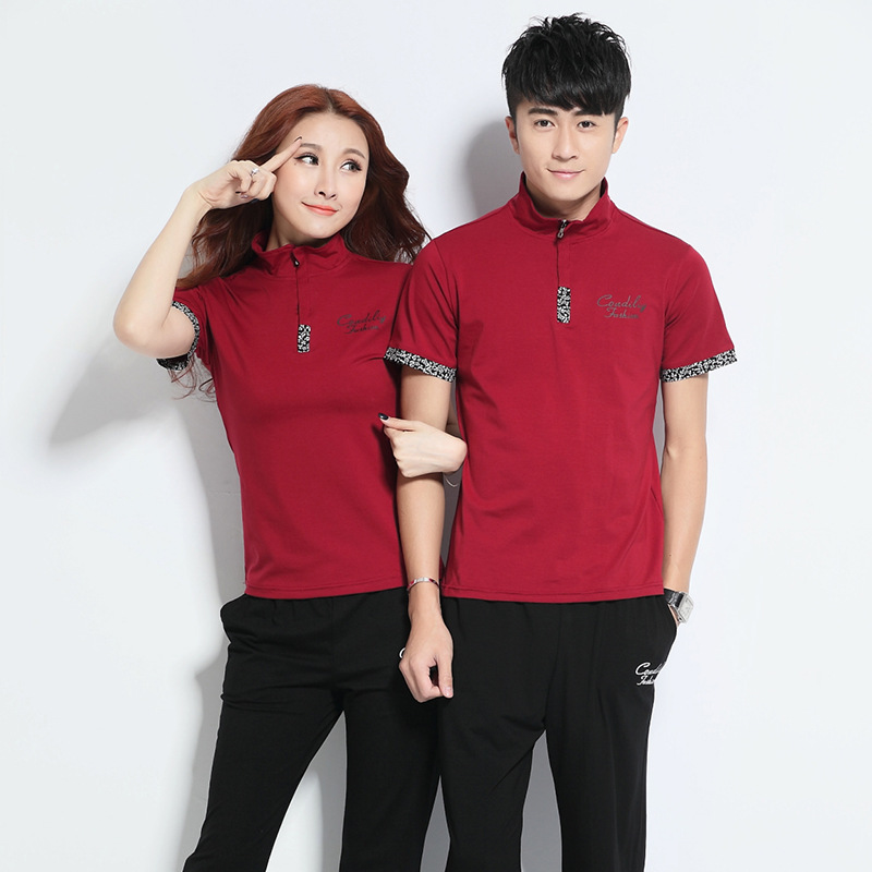 Short-sleeved Round Collar T-shirt Trousers Set Summer Fashion For Men And Women Couples Set Casual Sportswear