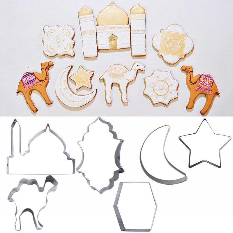 6Pcs EID MUBARAK Camel Moon Star Mold Cookie Cutters Ramadan Muslim Baking Tools
