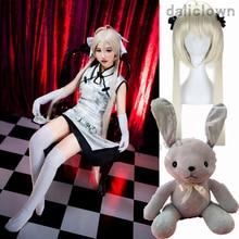 Anime Sora Kasugano Cosplay Cheongsam Yosuga No Sora Cosplay Clothing White Costume+Gloves + Socks + High Heels + Wig