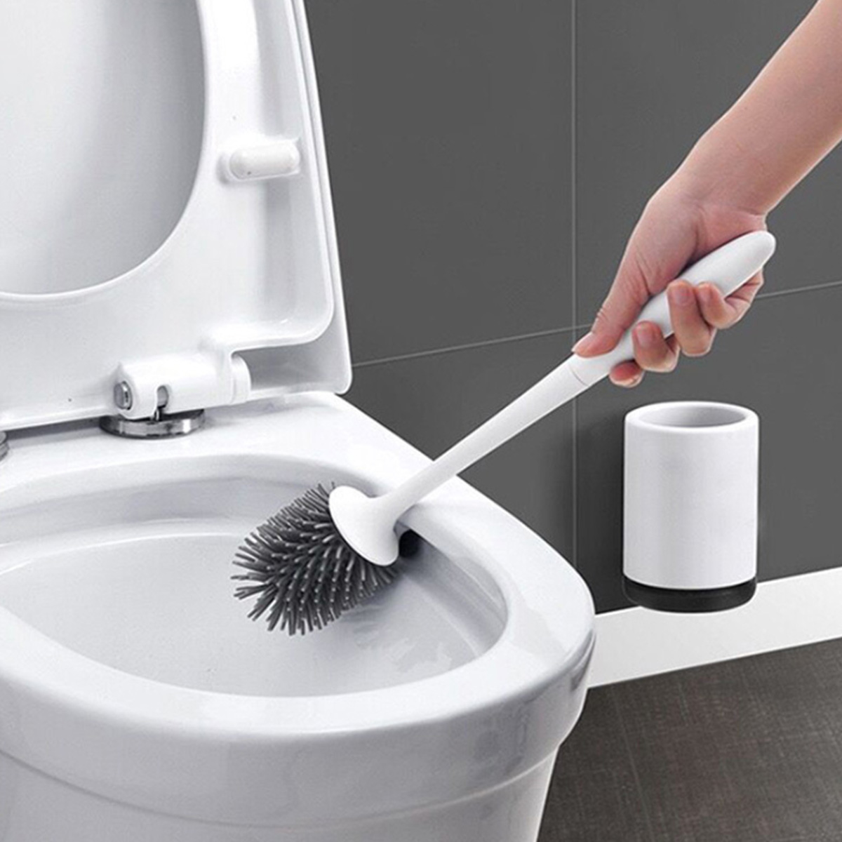 Toilet Brush Rubber Head Holder Cleaning Brush For Toilet Wall Hanging Household Floor Cleaning Tool Bathroom Accessories