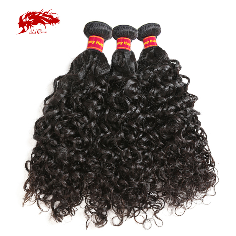 Ali Queen Hair Brazilian Water Wave 3Pcs Remy Hair Human Hair WeaveS Bundles 12