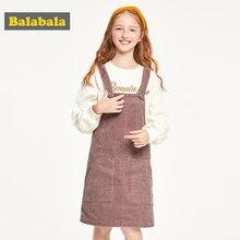 Balabalaเสื้อผ้าเด็กหญิงชุดผ้าฝ้าย 2019 ชุดฤดูใบไม้ร่วงใหม่Ocean Corduroyสายคล้องชุดเจ้าหญิง