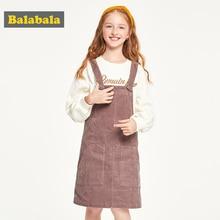 Balabala Children clothing girls dress cotton 2019 new autumn dress ocean corduroy strap dress princess