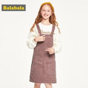 Image 1 - Balabala детская одежда, платье для девочек, хлопковое платье, новинка 2019, осеннее платье, вельветовое платье на бретельках для принцессы