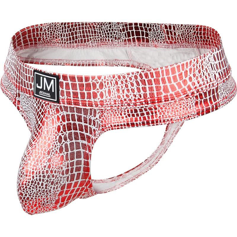 Men Briefs Sexy Jocks G String U Convex Gay Underwear Snake Skin PU Leather Men Underpants Penis Pouch Thong Tanga Jockstrap