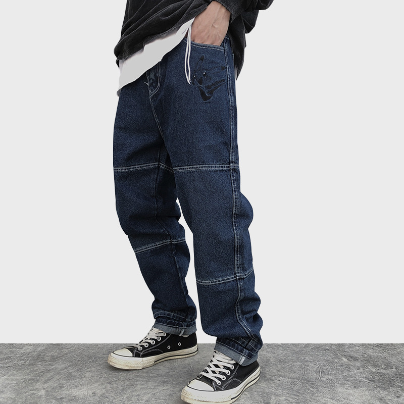 Jeans Cartoon Embroidery Denim Pant Men Baggy Advanced Solid Color Retro Hip Hop Style Cozy High Street Casual Jeans