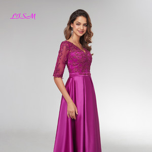 Image 5 - Purple Half Sleeves Evening Dresses 2020 Elegant Lace Appliqued Beaded Long Formal Gowns Illusion V Neck Satin Prom Dress
