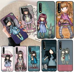 PENGHUWAN Santoro Gorjuss cute cartoon girl Cover Black Soft Shell Phone Case for Huawei P30 P20 P10 P9 P8 Mate 20 10 Pro Lite(China)
