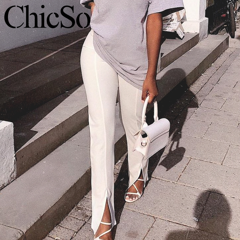 Missychilli White Trousers Pant Knit Office Skinny Split Soft Black Elegant Long High-Waist title=