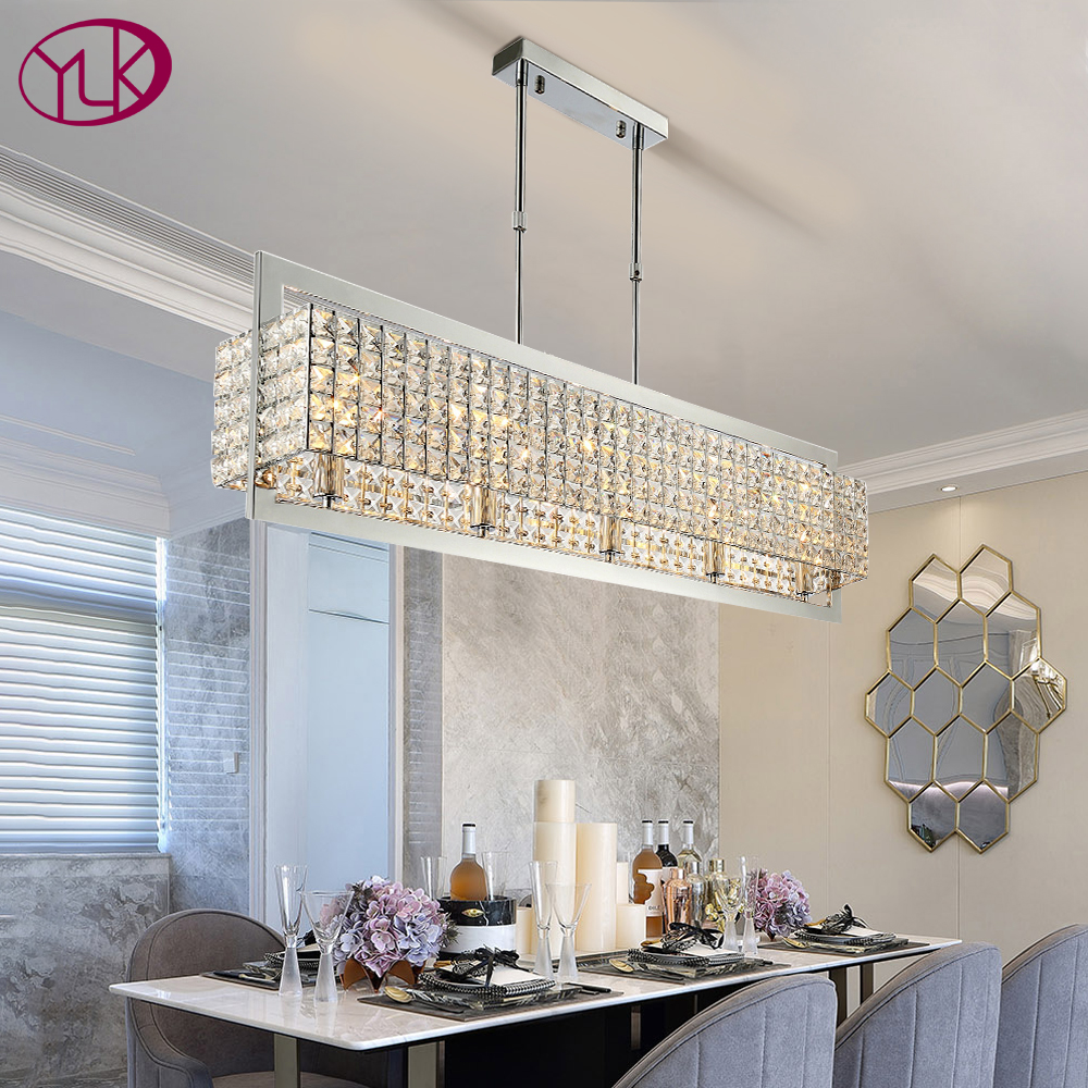 Modern Luxury Clear Crystal Rectangle Chrome Chandelier Lighting Led Lamps Home Decoration Hanging Lamp Indoor Lights Fixture