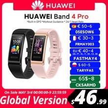 Version mondiale Huawei bande 4 Pro bande intelligente oxygène sanguin 0.95 ''AMOLED écran traqueur de fréquence cardiaque GPS surveillance du sommeil Smartband