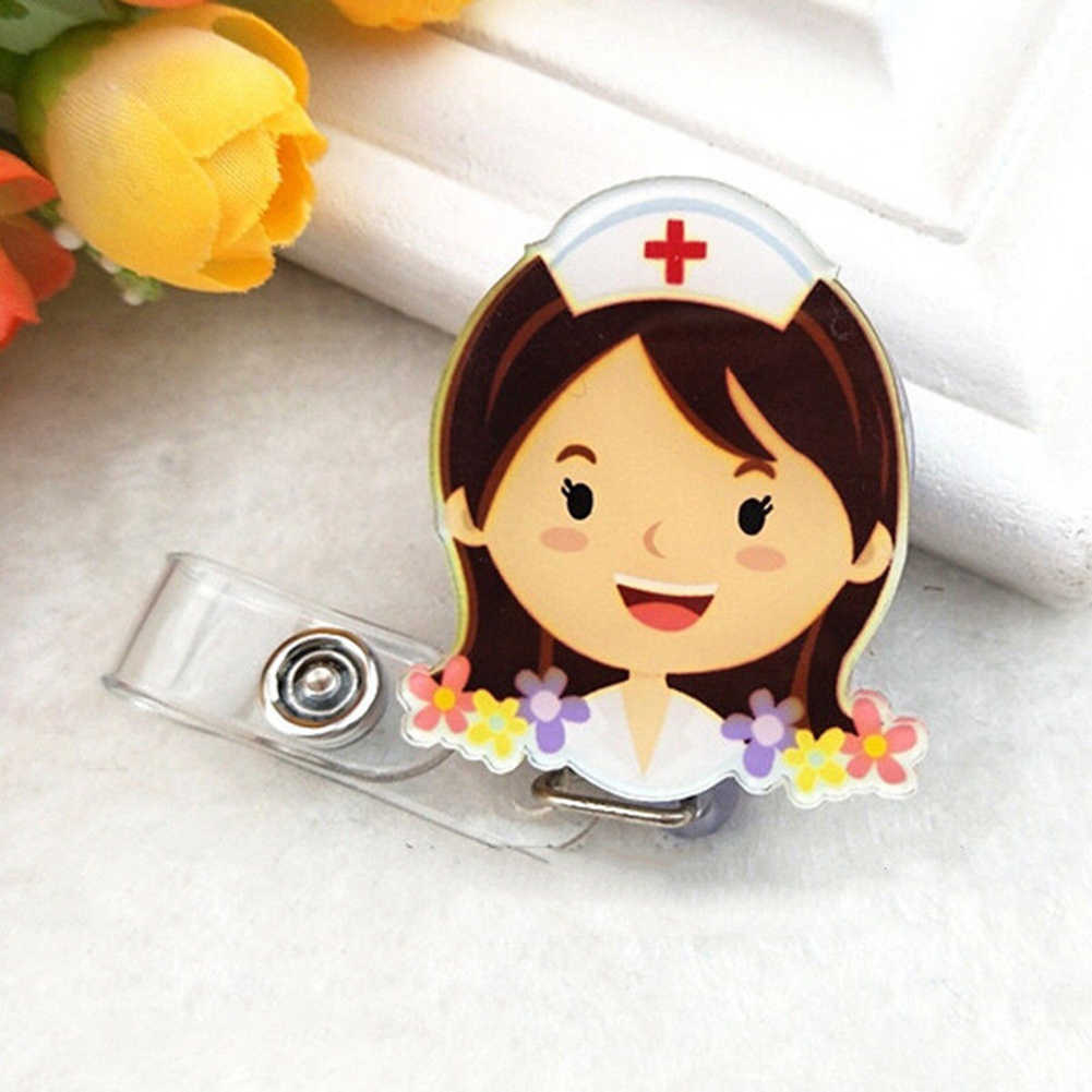 Мультфильм медсестры доктор выдвижная катушка ID бейдж Клип держатель
