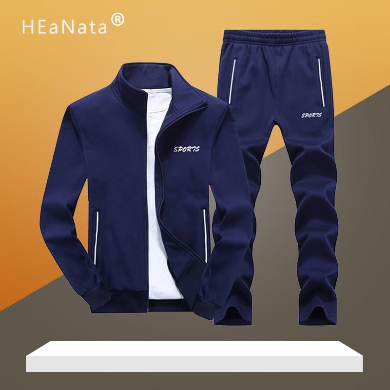 Sportswear Tracksuits Men Sets Polyester Sweatshirt Sporting Fleece 2019 Gyms Clothing 2PCS Jacket+Pants Casual Men's Track Suit