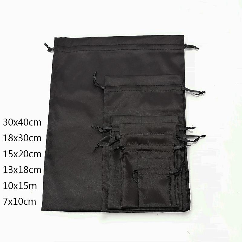 Custom Logo Silk Satin Drawstring Gift Bags Virgin Hair Jewelry Makeup Packaging Bag Black White Silver Pink Silk Pouch