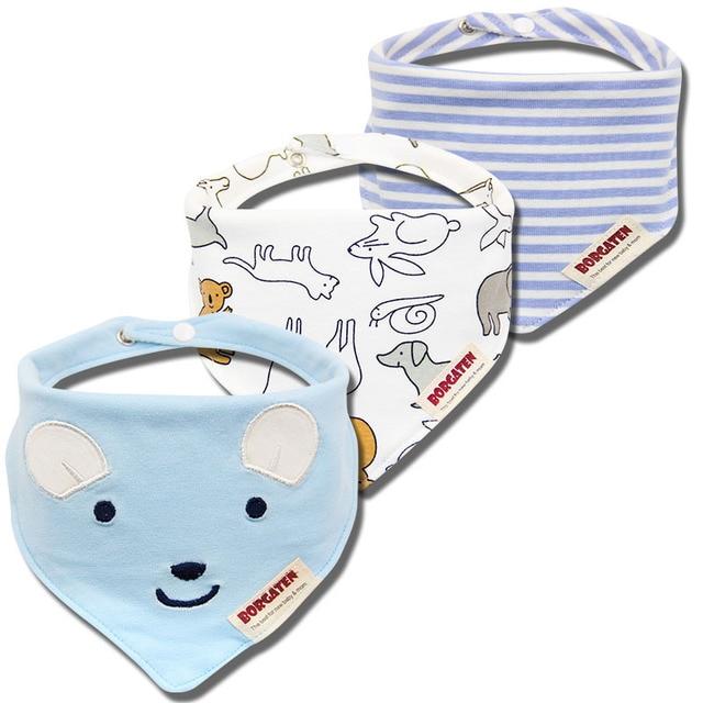 Organic Cotton Baby Bibs (Set of 3) -Animals-
