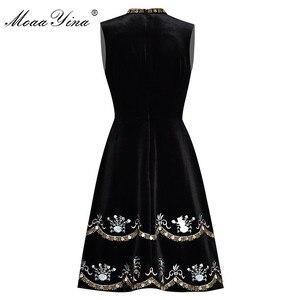 Image 2 - MoaaYina yaz kadın elbise boncuk elmas nakış balo Vintage elbise