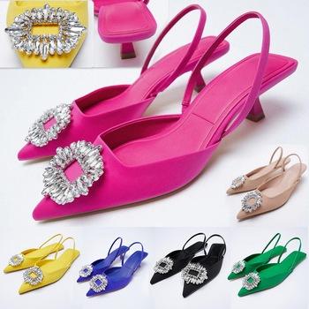 ZA letnie klapki 2021 nowe buty damskie różowe różowe szpiczasty nosek buty ślubne cekinowe odsłonięte buty dokumentalne 6 kolorów tanie i dobre opinie Adisputent podstawowe Szpilki CN (pochodzenie) Mikrofibra Z niewielkim szpicem 0-3 cm Niska (1 cm-3 cm) Dobrze pasuje do rozmiaru wybierz swój normalny rozmiar