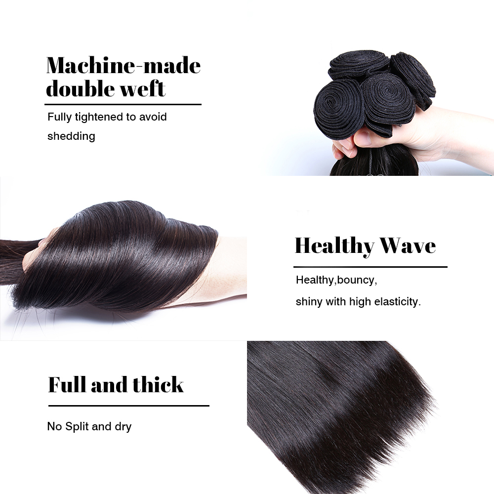 Image 5 - Ms Cat Hair 3 Bundles Deal with Closure 4 Pcs/Lot Brazilian Straight Hair Remy Human Hair Bundles With Closure & Baby Hair-in 3/4 Bundles with Closure from Hair Extensions & Wigs