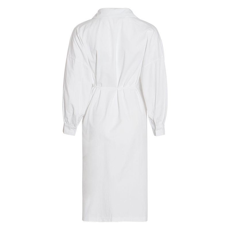 CHICEVER Solid High Waist Lace Up Dress For Women Hem Split Lantern Sleeve Slim Summer Dresses Female Clothes Fashion Korean New 13