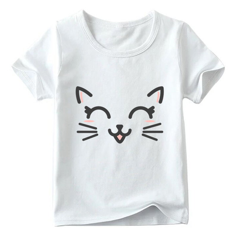 Children Cute Flower Cat Face Funny T shirt Summer Baby Boys/Girls Cartoon Tops Short Sleeve T-shirt Kids Clothes 8