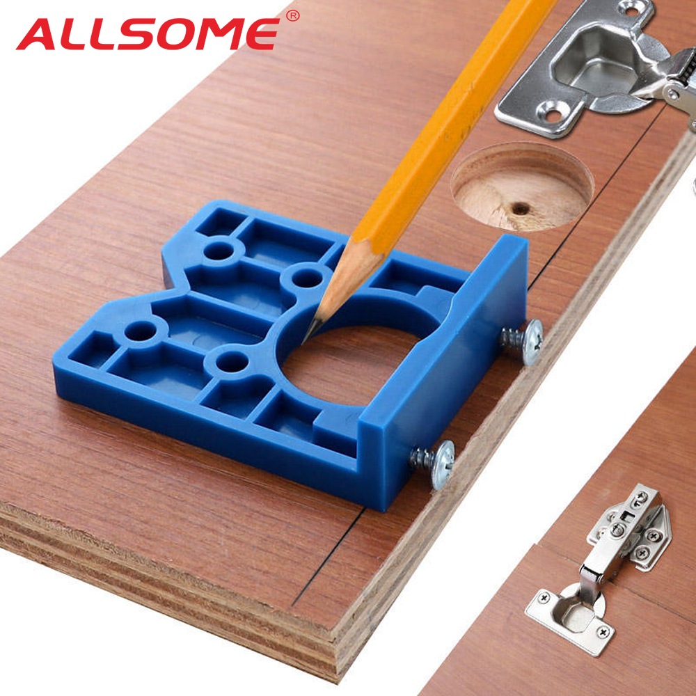 ALLSOME 35mm Hinge Jig ABS Hinge Installation Wood Drill Guide Hinge Hole Boring Furniture Door Cabinets Tool For Carpentry+