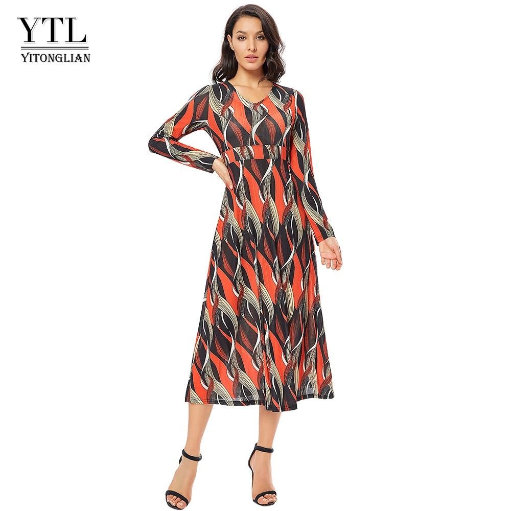 Yitonglian Women Long Sleeve Vintage Casual Wave Print Colorblock Maxi Dress Elegant Plus Size Beach Party Dresses H250