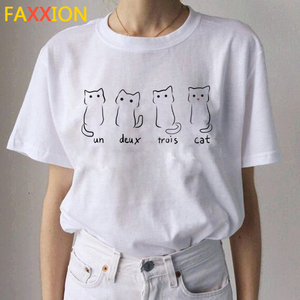 Image 1 - 2020 Kawaii 고양이 재미 있은 만화 T 셔츠 여성 Ullzang 캐주얼 T 셔츠 귀여운 90s 인쇄 Tshirt 패션 톱 티 여성