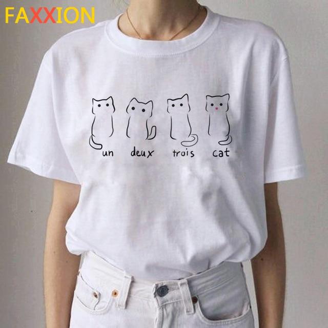 2020 Kawaii 고양이 재미 있은 만화 T 셔츠 여성 Ullzang 캐주얼 T 셔츠 귀여운 90s 인쇄 Tshirt 패션 톱 티 여성
