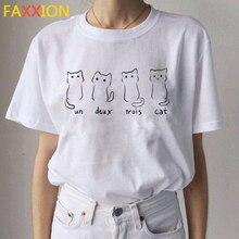 Camiseta con estampado de gato Kawaii para mujer, blusa informal Ullzang, playera estampada de los 90, camisetas para mujer 2020
