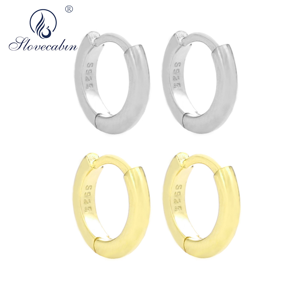 Slovecabin 925 Sterling Silver 2019 Plain Hoop Earrings For women Mini Huggie Circle Fashion Loop earrings Luxury Jewelry