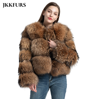 3 Rows 2019 New Real Natural Fur Coat Women's Genuine Raccoon Fur Leather Jacket Overcoat Girl's Fur Outwear High Quality S7373 - discount item 48% OFF Women's Clothing