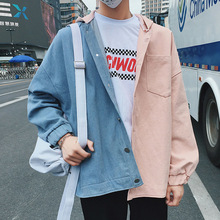 Cotton Hooded Jacket Men Fashion Contrast Color Casual Denim Stitching Jacket Men Streetwear Hip Hop Loose Bomber Jacket S-2XL men contrast stitching destroyed denim pants